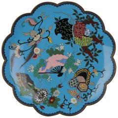 Top and Large Antique Bronze/Copper Cloisonné Dish Plate Japan 19th Century Fan
