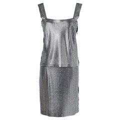 Top and skirt metallic pattern 70's Paco Rabanne