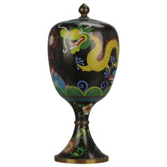Top Antique Bronze Cloisonné Footed Dragon Jar, China, 19th or early 20th C