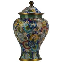 Top Antique Bronze Cloisonné Millefiori jar China early 20th C Republic Period