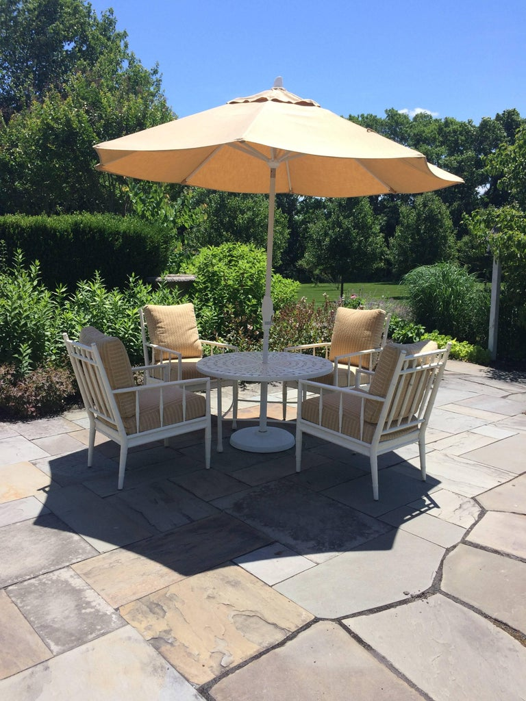 Top Drawer Round Bistro Patio Table and Four Plush Armchairs For Sale 4