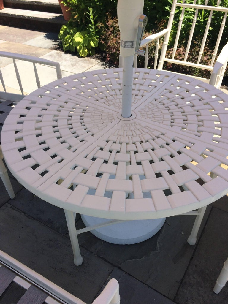American Top Drawer Round Bistro Patio Table and Four Plush Armchairs For Sale
