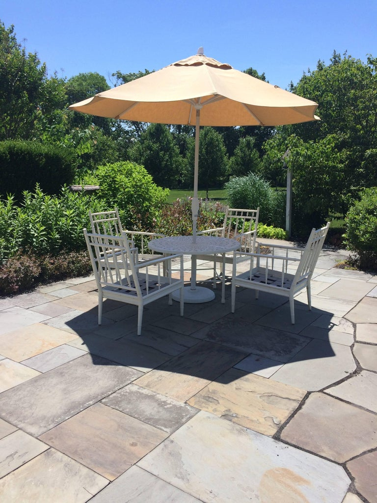 Top Drawer Round Bistro Patio Table And Four Plush
