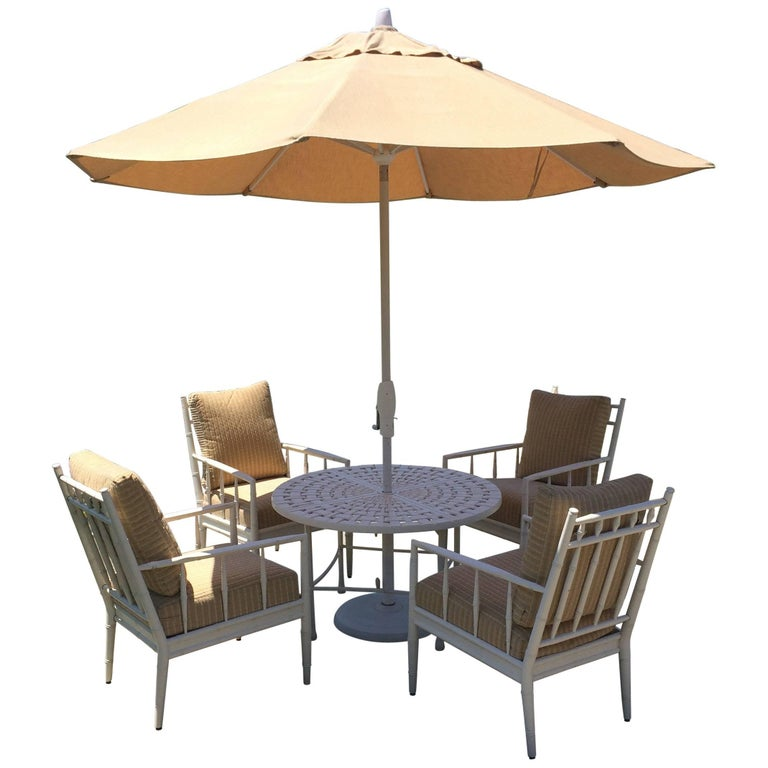 Top Drawer Round Bistro Patio Table and Four Plush Armchairs For Sale