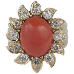 Top End 100% Natural Red Salmon Coral 1.10 Carat Diamond Flower Ring