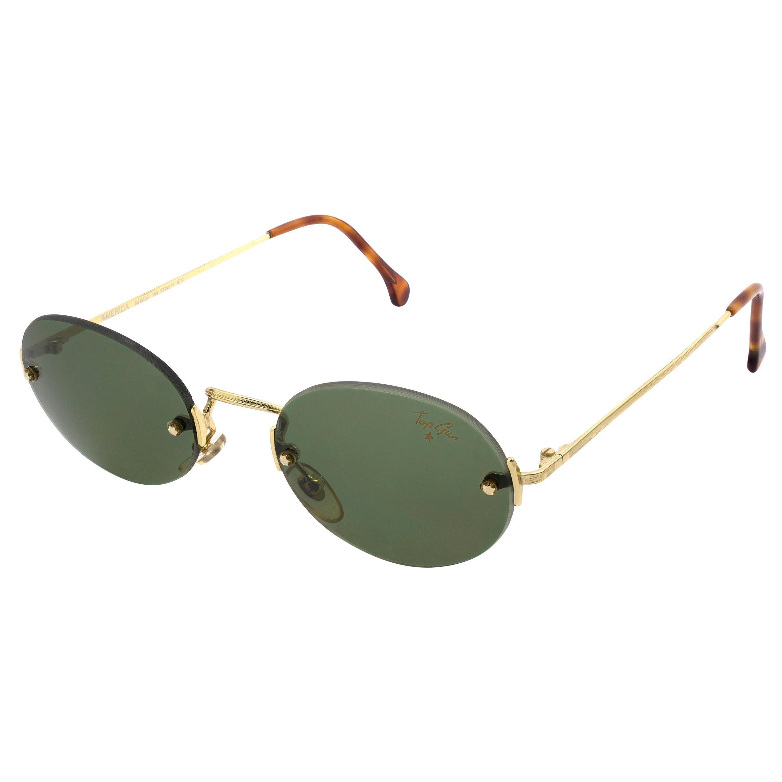Top Gun® oval rimless vintage sunglasses, Italy 90s