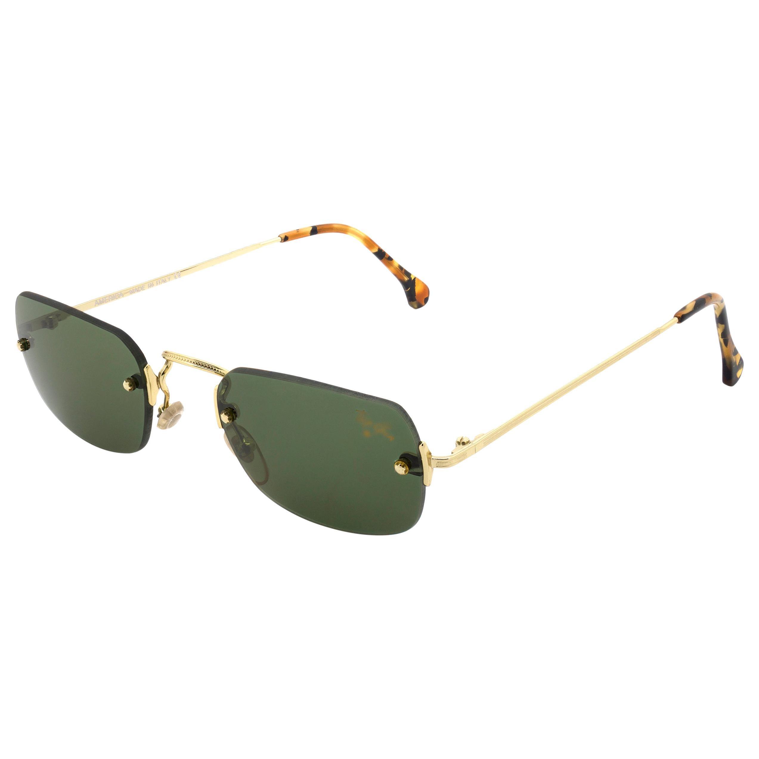 Top Gun® rectangular rimless vintage sunglasses, Italy 90s