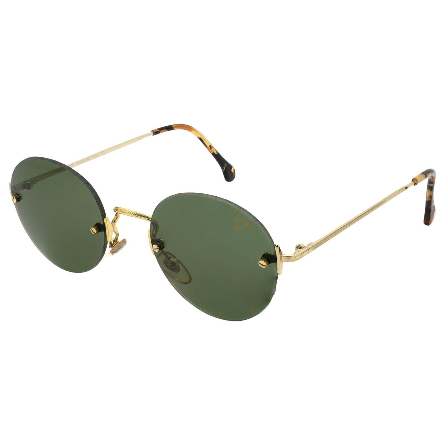 Top Gun® round rimless vintage sunglasses, Italy 90s