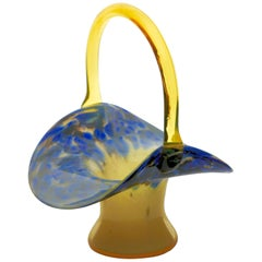 'Top Hat' Flower Basket / Vase with Handle, Blue Black with Caramel Color Body