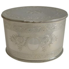 Top Notch Silver Plated Tea Caddy by Elkington & Co., 1880