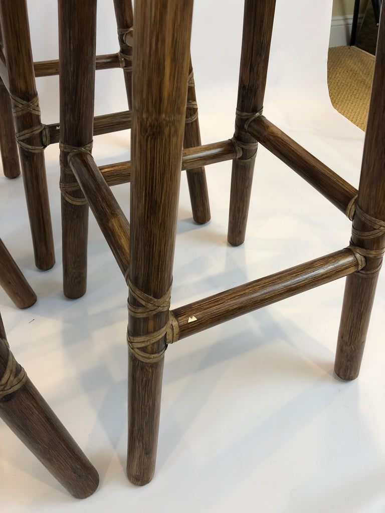Top of the Line McGuire Set of 4 Bamboo Bar Stools For Sale 4
