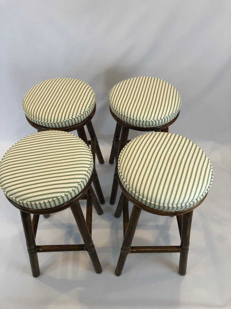 American Top of the Line McGuire Set of 4 Bamboo Bar Stools For Sale