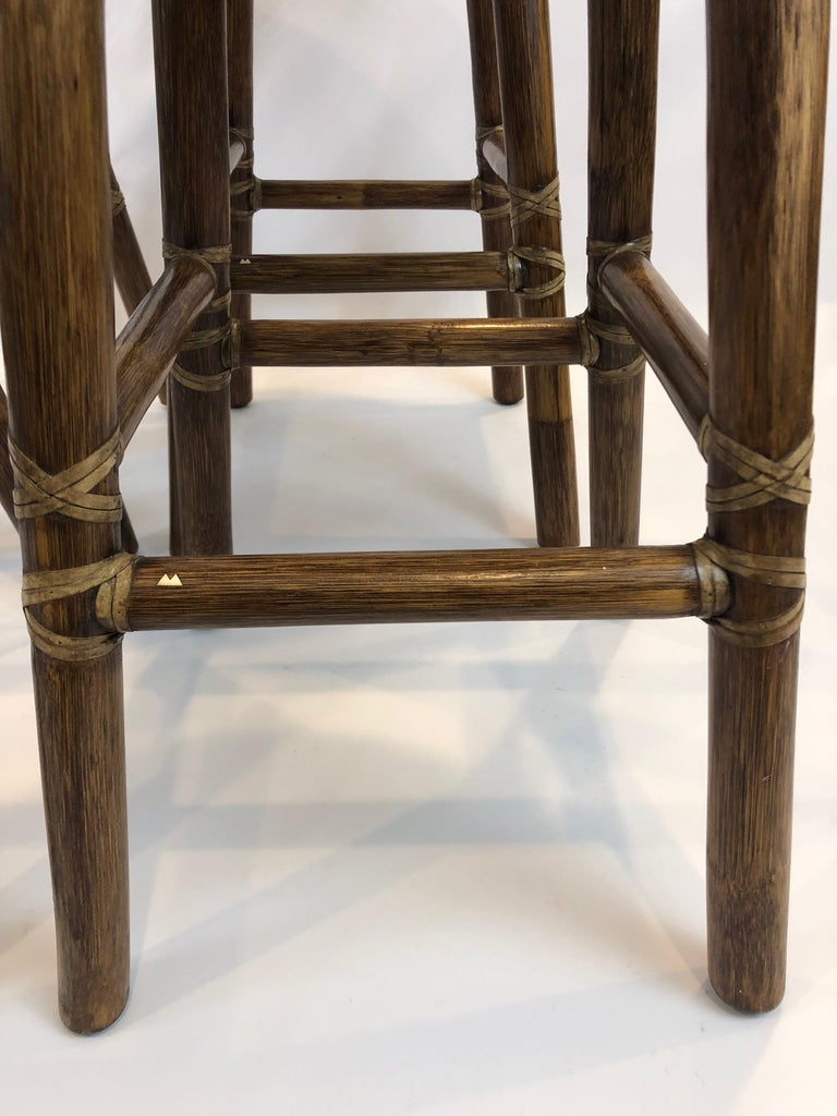 Top of the Line McGuire Set of 4 Bamboo Bar Stools In Excellent Condition For Sale In Hopewell, NJ