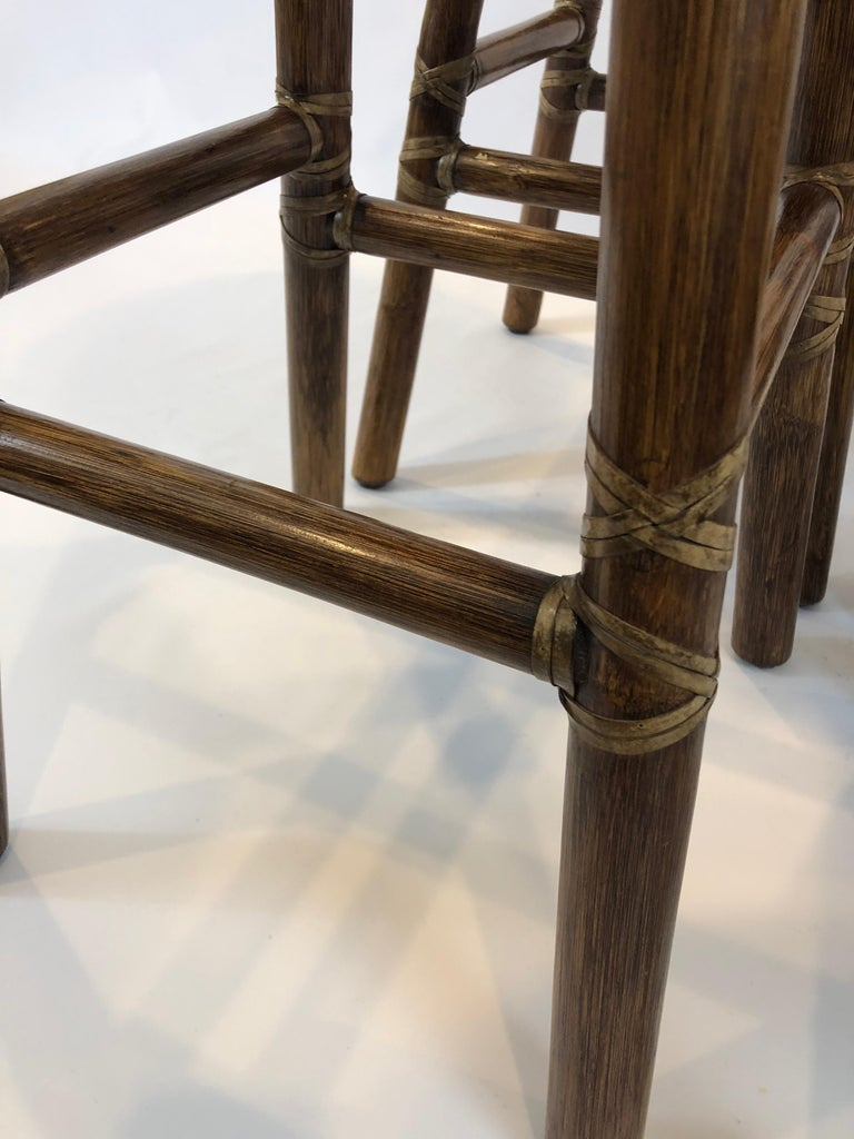 Late 20th Century Top of the Line McGuire Set of 4 Bamboo Bar Stools For Sale
