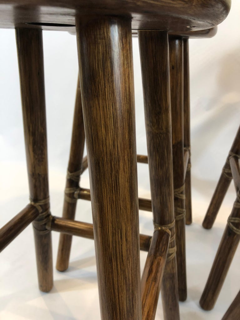 Top of the Line McGuire Set of 4 Bamboo Bar Stools For Sale 1