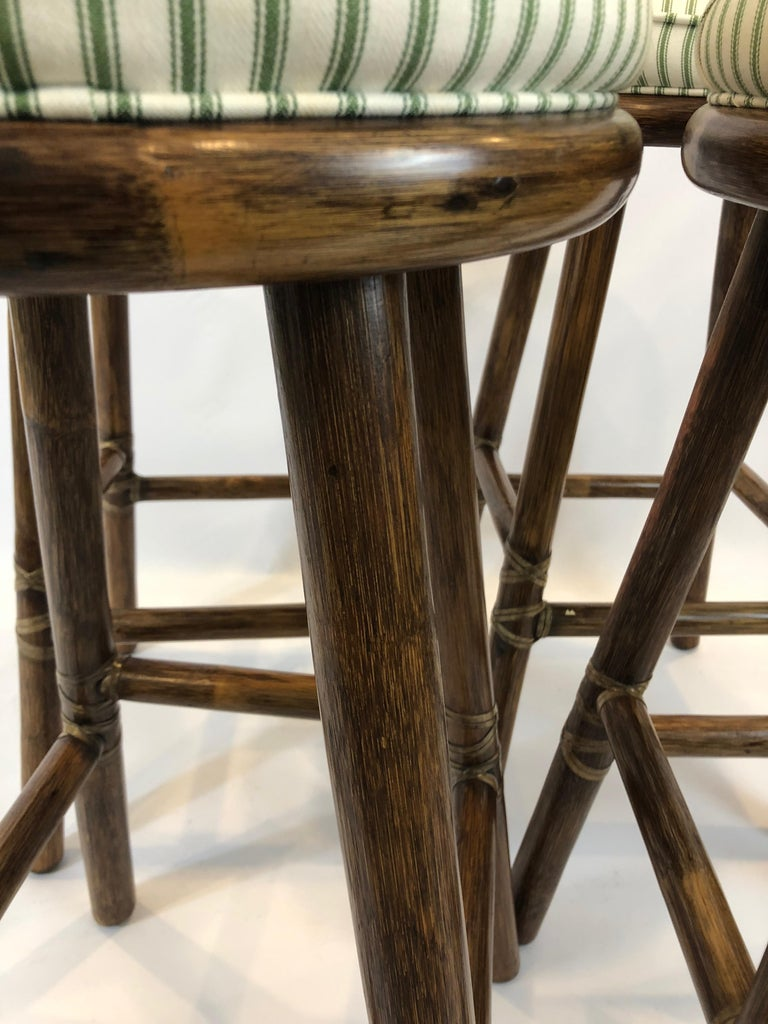 Top of the Line McGuire Set of 4 Bamboo Bar Stools For Sale 2