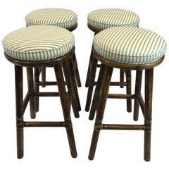 Top of the Line McGuire Set of 4 Bamboo Bar Stools
