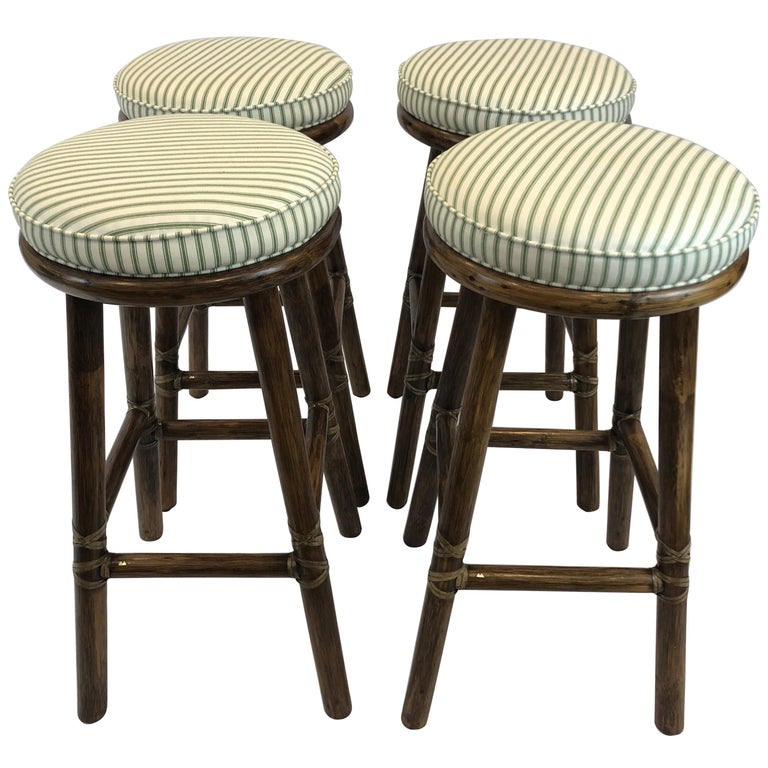 Top of the Line McGuire Set of 4 Bamboo Bar Stools For Sale