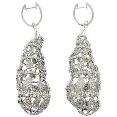 Top Quality 11.66 carat Diamond Hanging Earrings in 18k White Gold 28.85 grams