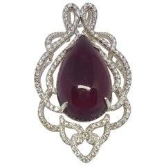 Top Quality 26.36 Carat Rubelite Pendant with  Diamonds in 18k White Gold