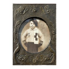 Top Quality Arts & Crafts Copper Wall Picture Frame / Mirror w. Embossed Peacock