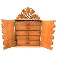 Top Quality Early 1900s Miniature Arts and Crafts Drawers Cabinet, Chestnut Leaf