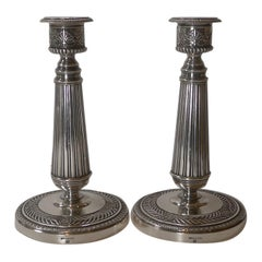 Top Quality Pair French Silver Plated Candlesticks by Cailar Bayard, c.1900