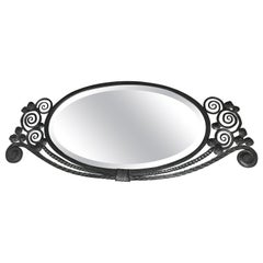 Top Quality Wrought Iron Art Deco Wall Mirror in the Manner of Edgar Brandt