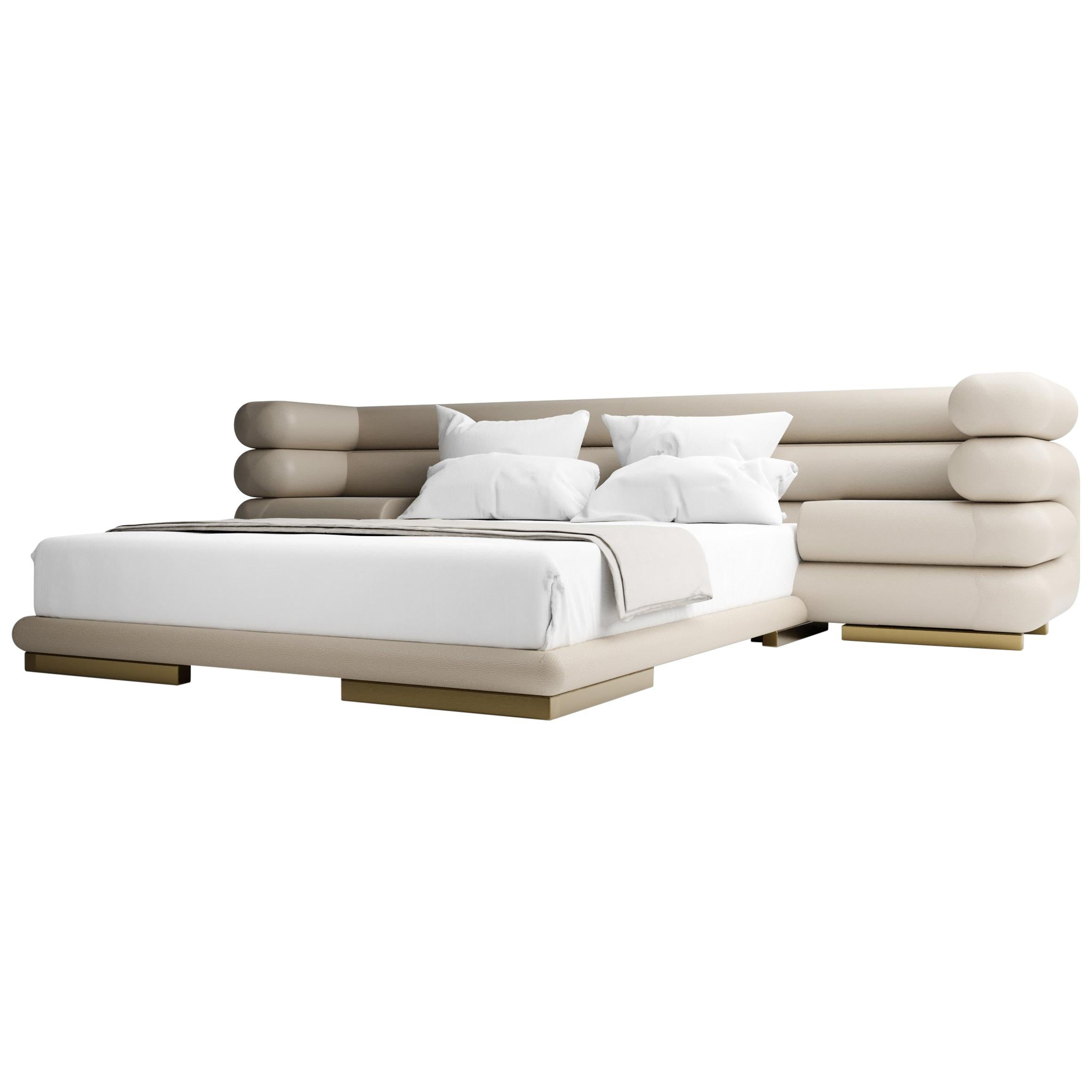 TOPANGA BED - Modern Design in Lealpell Leather and with Marble Table Insets