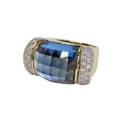 Topaz 18k Gold Diamond Cocktail Ring