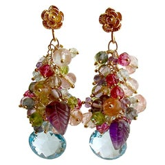 Topaz, Amethyst, Lemon/Cherry Quartz, Peridot, Iolite Cluster Earrings
