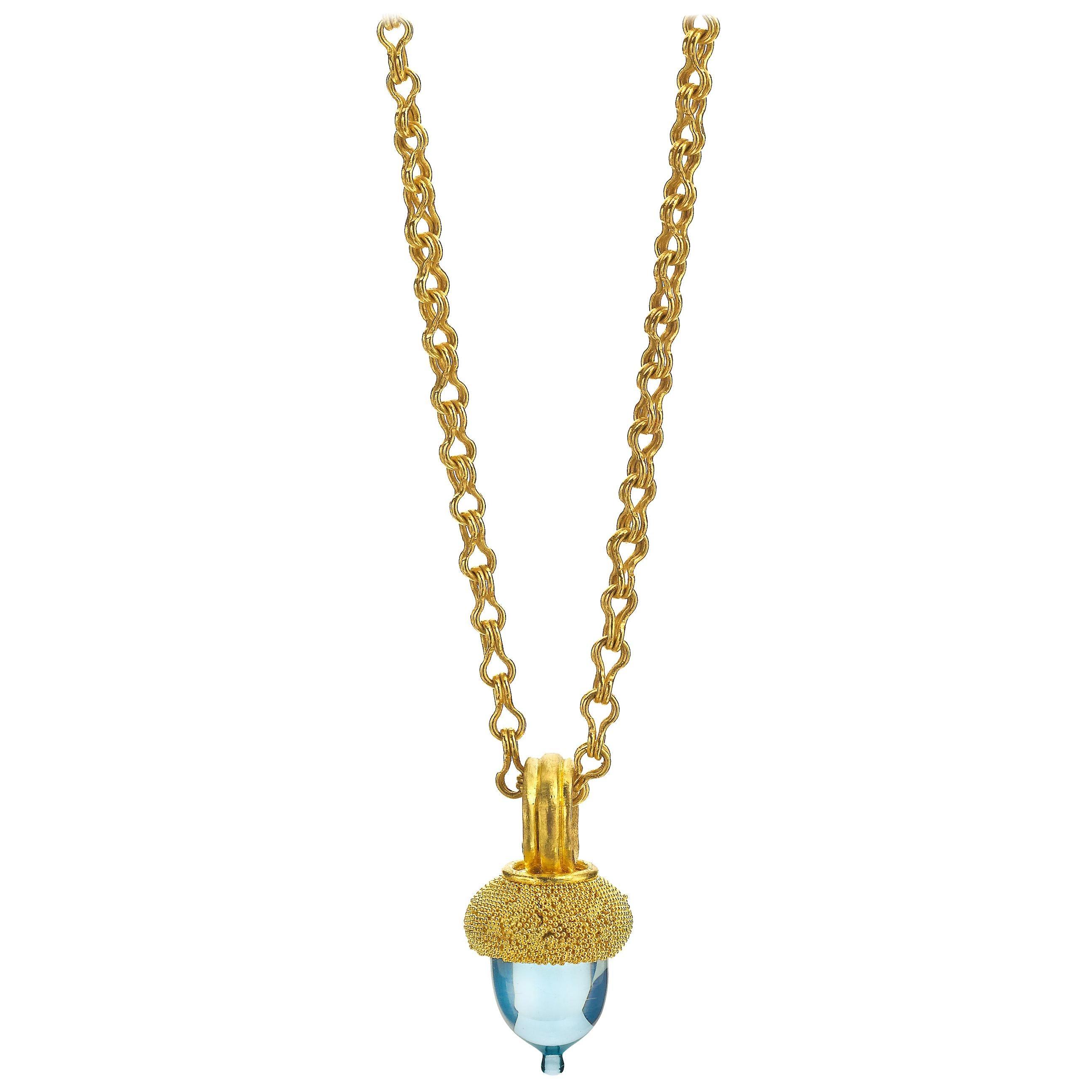 Topaz and 22 Karat Gold Acorn Pendant