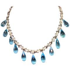 Topaz and Diamond Drop Necklace