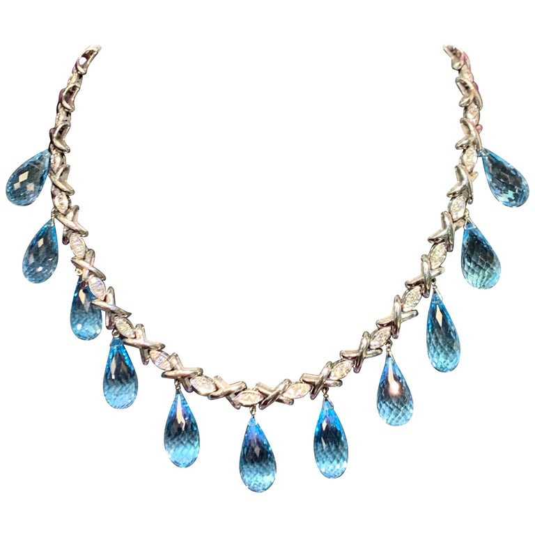 Topaz and Diamond Drop Necklace For Sale