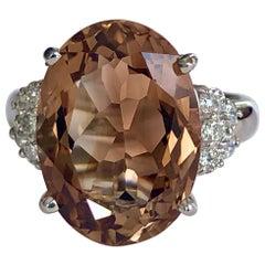 Topaz and Diamond Estate Platinum Cocktail Ring