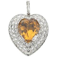 Topaz and Diamond Heart Pendant, 5.00 Carat