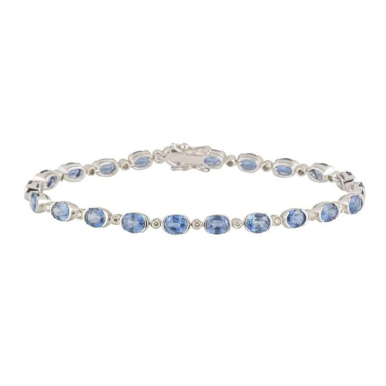 Topaz and Diamond Line Bracelet