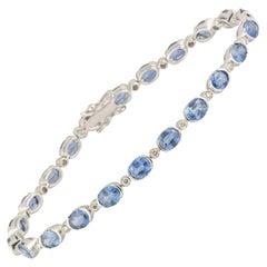Topaz and Diamond Line Tennis Bracelet