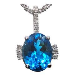 Topaz and Diamond Necklace Pendant