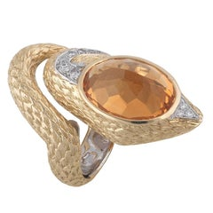 Topaz and Diamond Snake Ring