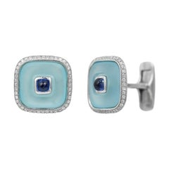 Topaz Blue Sapph 18 Karat White Gold Fine Jewelry Statement Cufflinks for Him