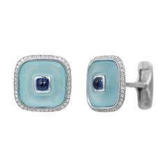 Topaz Blue Sapph 18 Karat White Gold Fine Jewelry Statement Cufflinks for Him