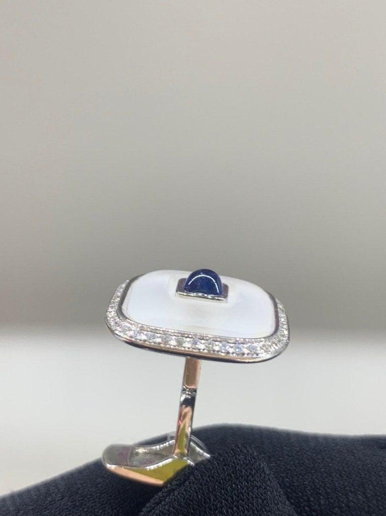 Topaz Blue Sapph 18 Karat White Gold Fine Jewelry Statement Cufflinks For Sale 5