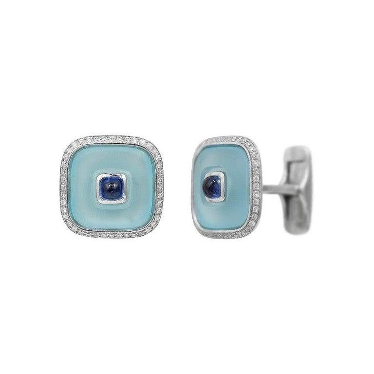 Round Cut Topaz Blue Sapph 18 Karat White Gold Fine Jewelry Statement Cufflinks For Sale