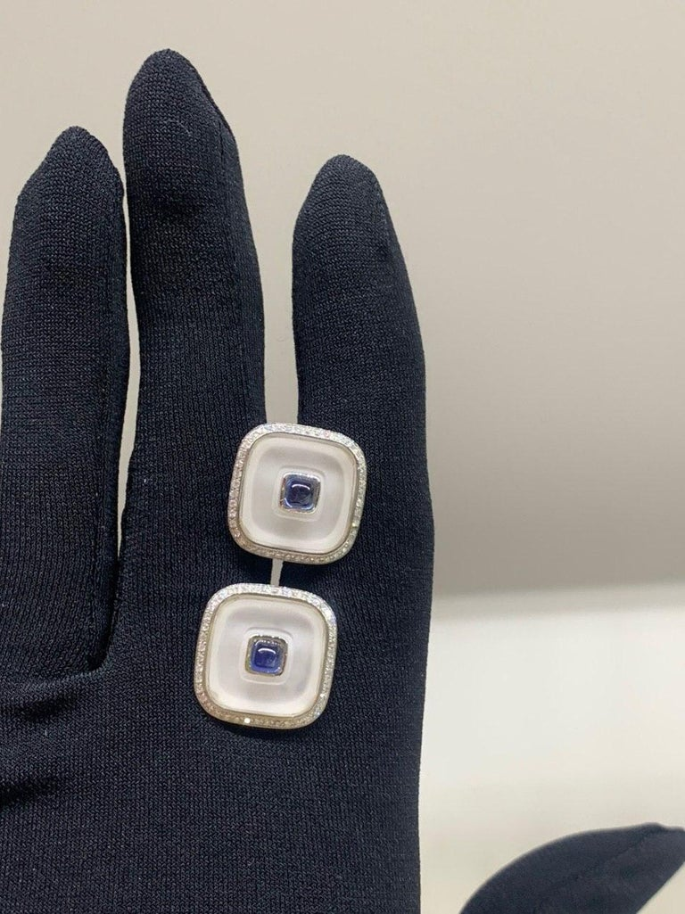 Topaz Blue Sapph 18 Karat White Gold Fine Jewelry Statement Cufflinks For Sale 1
