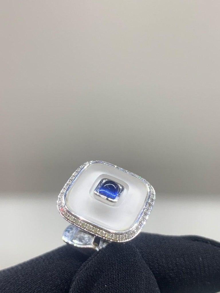 Topaz Blue Sapph 18 Karat White Gold Fine Jewelry Statement Cufflinks For Sale 2