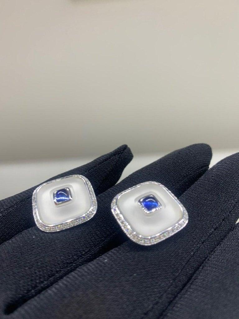 Topaz Blue Sapph 18 Karat White Gold Fine Jewelry Statement Cufflinks For Sale 3