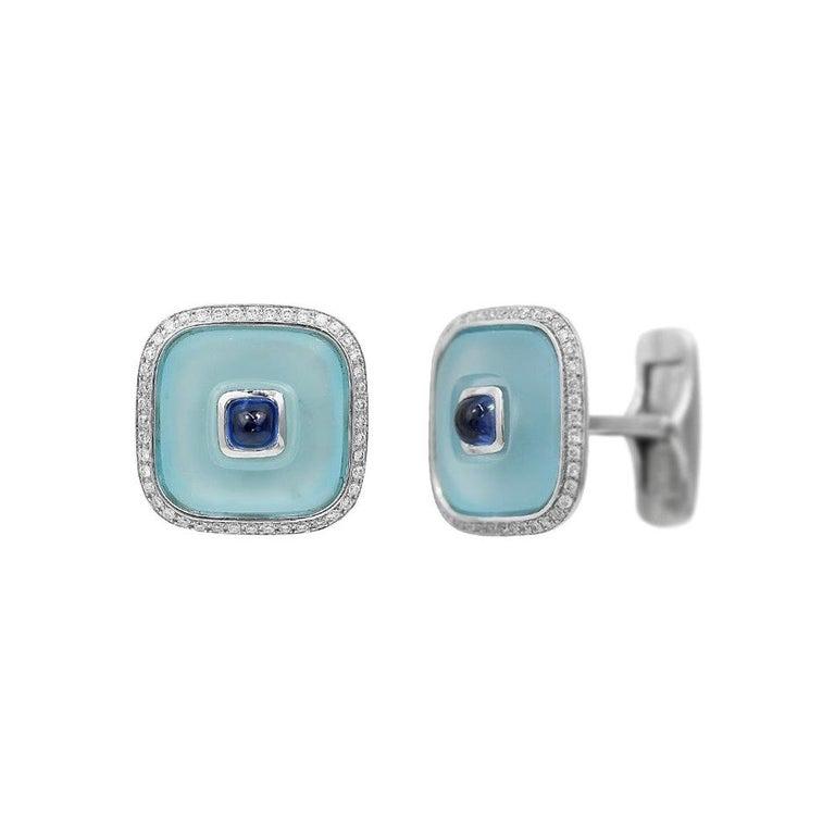 Topaz Blue Sapph 18 Karat White Gold Fine Jewelry Statement Cufflinks For Sale