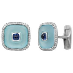 Topaz Blue Sapphire 18 Karat White Gold Fine Jewelry Statement Cufflinks