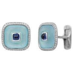 Topaz Blue Sapphire 18 Karat White Gold Fine Jewelry Statement Cufflinks
